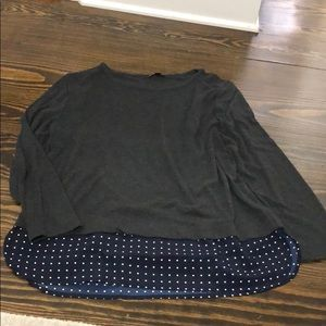 Gray J Crew Mercantile Shirt w Navy polka dot trim